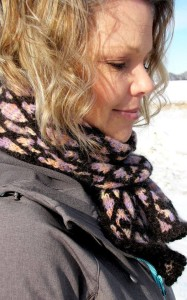 This gorgeous scarf is Stained Glass Sunrise scarf, with the Stained Glass Sunrise colorway.
