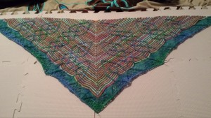 This shawl was created using the Stutzen pattern on Ravelry: http://www.ravelry.com/patterns/library/stutzen  and the colors were custom dyed.