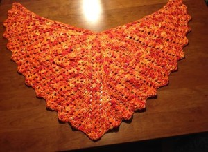 What a stunning shawl! This was Julie Hendrickson's fisrt shawl that she crocheted. She used two skeins of Japanese Maple and this pattern: http://www.ravelry.com/patterns/library/seraphinas-shawl