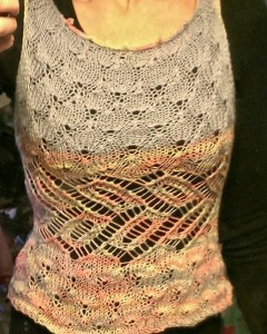 Rebecca Willoughby was a lucky winner of a skein of my Sunrise Reflection colorway. She designed this tank top using one skein of Sunrise Reflection and one skein of St. Denis Sommet baby alpaca. What an awesome job!