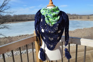 Corrina Ricke crocheted this gorgeous Virus shawl using navy blue yarn that I custom dyed for her and some green stash yarn to show her love for her favorite sports team! Here is the pattern link for the shawl: http://www.ravelry.com/patterns/library/virus-shawl---virustuch