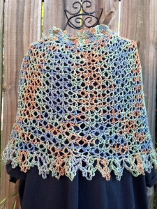 Maria Klein crocheted this beautiful cape out of my Bygone Days colorway! She designed the pattern for this that would show of the colorway in a stunning way. You can find her pattern here:  http://www.ravelry.com/patterns/library/out-of-time