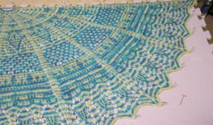 This stunning blue and yellow shawl was created using the Bollenstreek pattern on Ravelry. The yellow is my Morning's First Light colorway and the blue is soon to be released.
