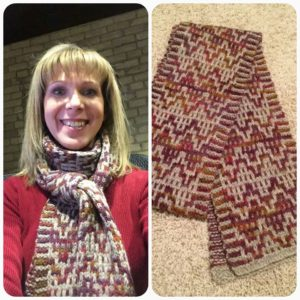 Linda Dolejs Koestler created this cozy mosaic scarf using 100% gray wool and my Celtic Sunset colorway dyed on 100% wool. It was her first time creating a knitted mosiac piece. Well done!